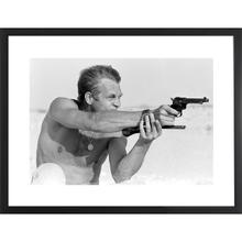 Steve Mcqueen Pistol (32 X 24) black and White Print With Black Lacquer Frame