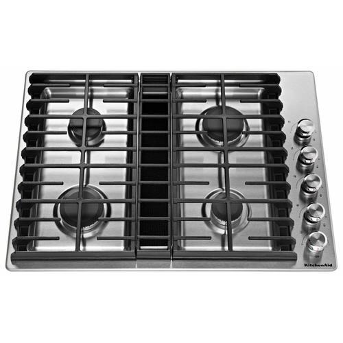 "KitchenAid - 30"" 4 Burner Gas Downdraft Cooktop - Stainless Steel"