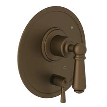 Edwardian Pressure Balance Trim with Diverter - English Bronze with Metal Lever Handle