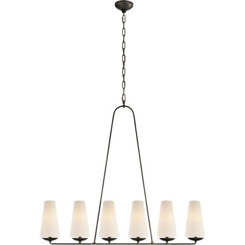 AERIN Fontaine 6 Light 45 inch Aged Iron Linear Chandelier Ceiling Light