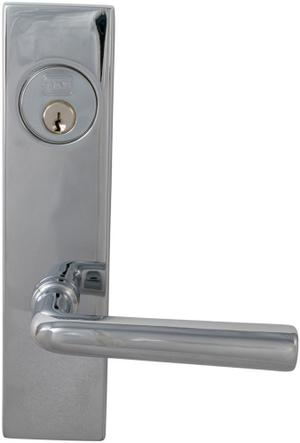 Exterior Modern Mortise Entrance Lever Lockset with Plates in (US26 Polished Chrome Plated) Product Image