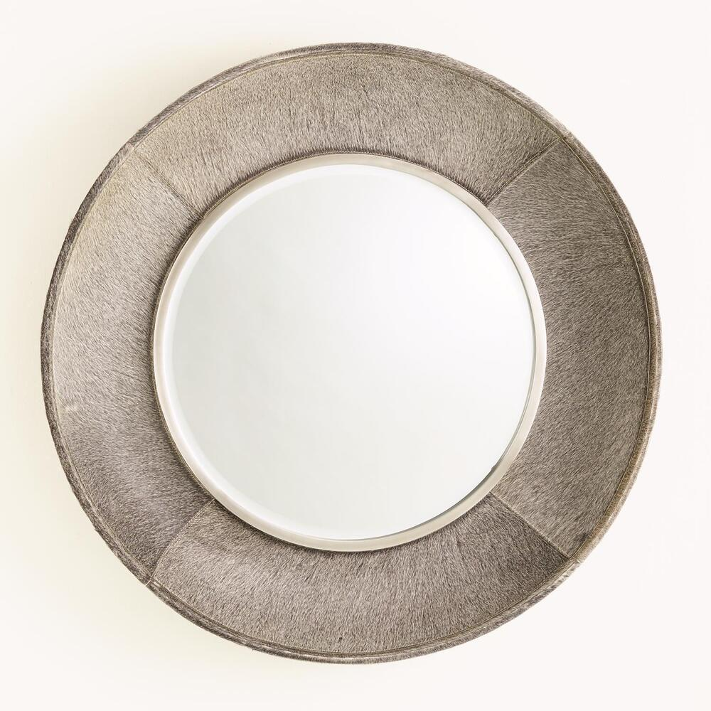 See Details - Metro Round Mirror-Grey Hair-on-Hide