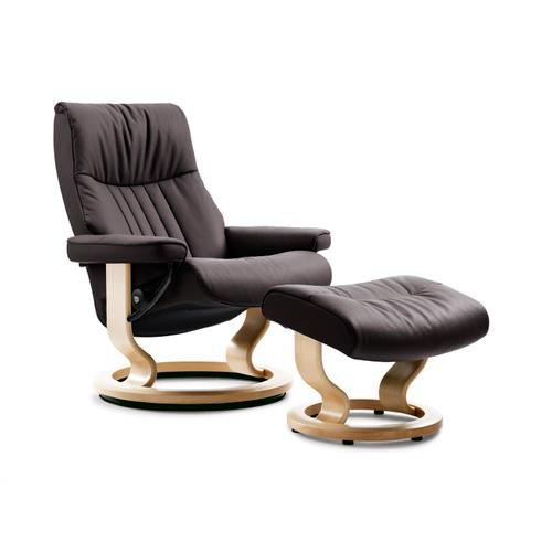 Stressless By Ekornes - Stressless Crown Large Classic Base Chair and Ottoman