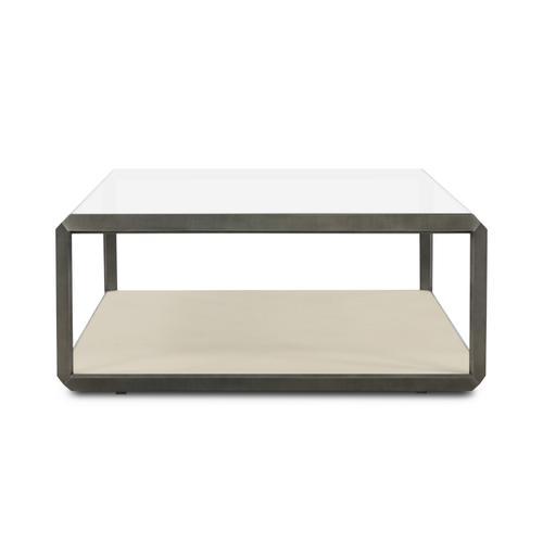 Brushed Gunmetal Finish Shagreen Shadow Box Coffee Table