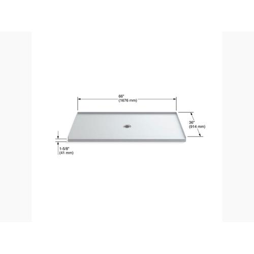 "White 66"" X 36"" Shower Base With Center Drain"