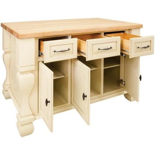 """52-5/8"""" x 32-3/8"""" x 35-1/4"""" Furniture style kitchen island with Antique White finish."""