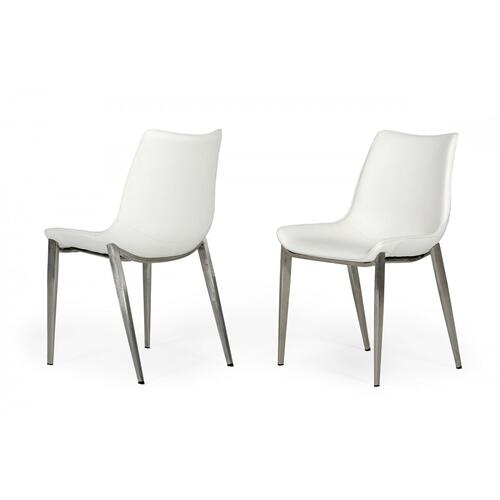 VIG Furniture - Modrest Frasier - Modern White Eco-Leather Dining Chair (Set of 2)