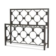 See Details - Baxter Metal Headboard and Footboard Bed Panels with Geometric Octagonal Design, Heritage Silver Finish, Queen
