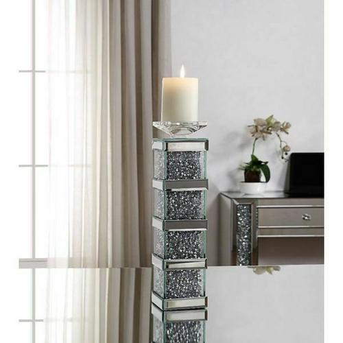 ACME Noralie Accent Candleholder (Set-2) - 97620 - Mirrored & Faux Diamonds