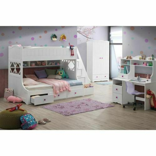 ACME Meyer Twin/Full Bunk Bed (Storage Ladder & Drawers) - 38150 - Country-Cottage, Provincial - Wood (Solid), Veneer (LVL), MDF, PB - White