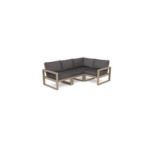 Polywood Furnishings - EDGE 4-Piece Modular Deep Seating Set in Vintage Sahara / Ash Charcoal