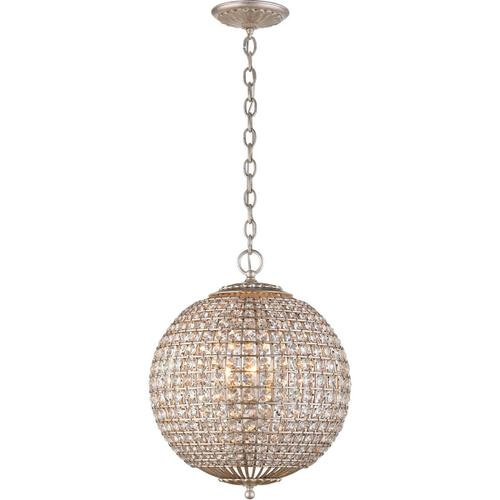 AERIN Renwick 4 Light 19 inch Burnished Silver Leaf Sphere Chandelier Ceiling Light, Small