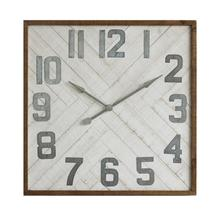 "36"" Sq Wood & Metal Wall Clock"