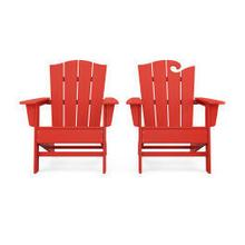 View Product - Wave 2-Piece Adirondack Chair Set with The Crest Chair in Sunset Red