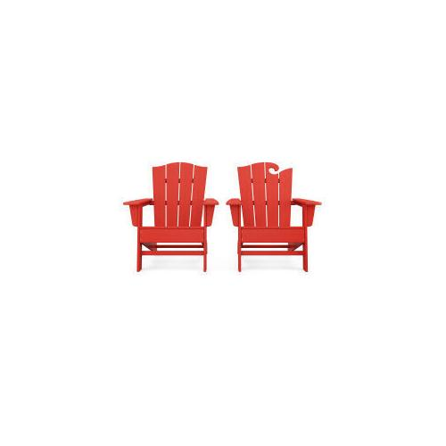 Polywood Furnishings - Wave 2-Piece Adirondack Chair Set with The Crest Chair in Sunset Red
