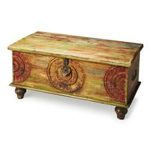 This heavily aged, hand painted solid wood trunk makes the perfect cocktail table. Its ancient Mesa hand carving adds beauty and artistic personality, sure to complement any eclectic living space.