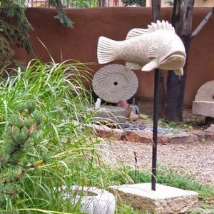 Stone Forest - Carved Fish Beige Granite / Powder Coated Iron Stand