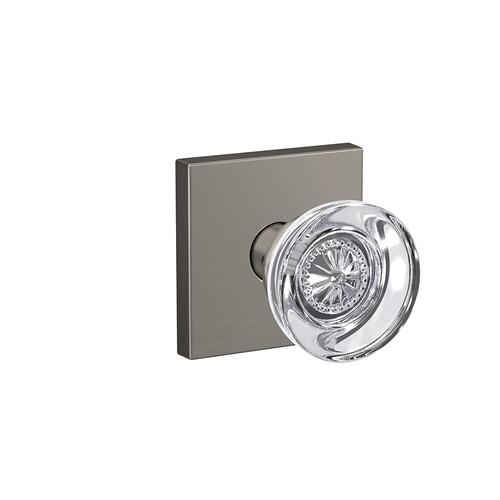 Custom Hobson Glass Knob with Collins Trim Hall-Closet and Bed-Bath Lock - Satin Nickel