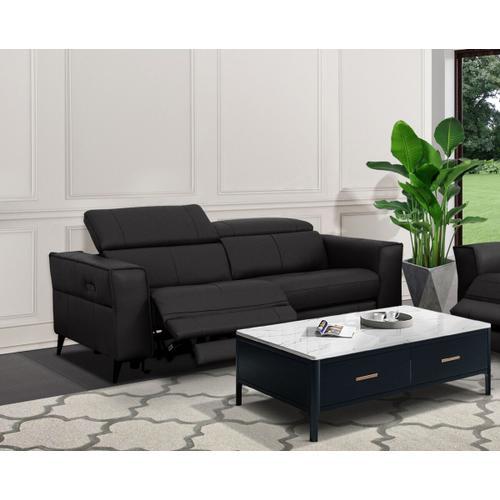 VIG Furniture - Divani Casa Nella - Modern Black Leather 3-Seater Sofa w/ Electric Recliners