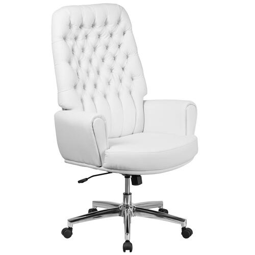 High Back Traditional Tufted White Leather Executive Swivel Chair with Arms