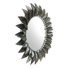 Leaf Round Mirror Black