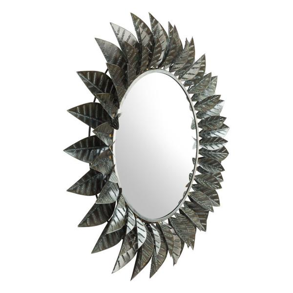 Leaf Round Mirror Black