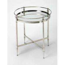Add this round end table to the living room, bedroom, or den to give the room an air of sophisticated yet unpretentious elegance. Its stainless steel legs are held together by an X-shaped bar. The legs support a beautiful mirrored glass top.