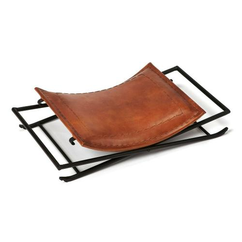 Butler Specialty Company - Leather meets iron for a simple seat, ideal for any spot in your home. Great alone or in multiples, its carefully stitched warm brown leather seat is supported by an understated black iron base that folds eaily for storage.