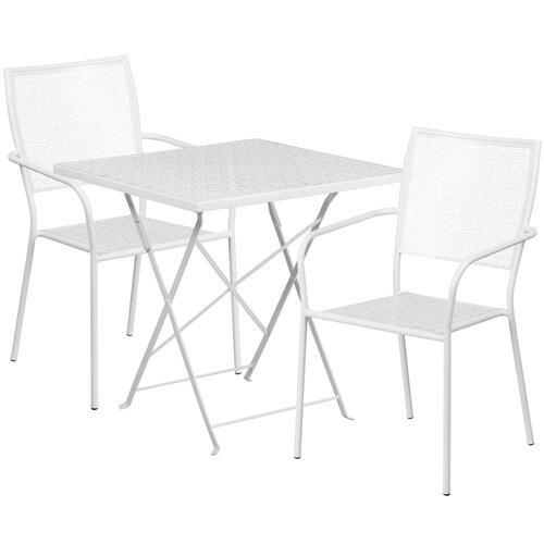 28'' Square White Indoor-Outdoor Steel Folding Patio Table Set with 2 Square Back Chairs