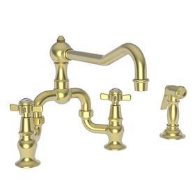 Satin Brass - PVD Kitchen Bridge Faucet with Side Spray