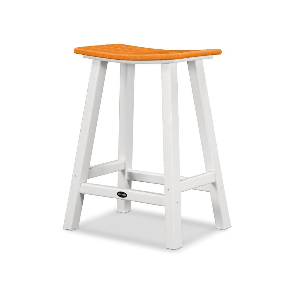 "White & Tangerine Contempo 24"" Saddle Bar Stool"