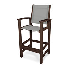 Mahogany & Metallic Coastal Bar Chair
