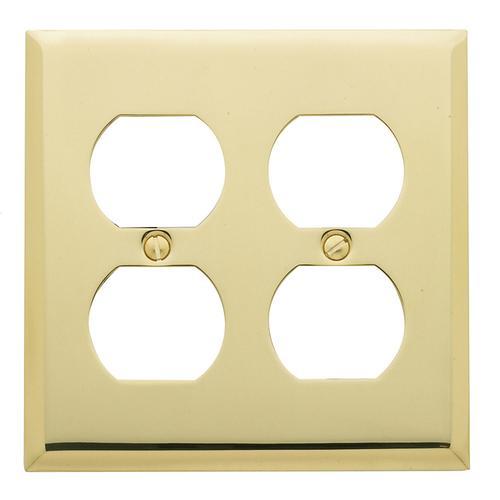 Baldwin - Polished Brass Beveled Edge Double Duplex