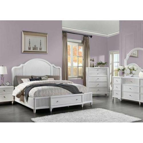 ACME Celestia California King Bed (Storage) - 22104CK - Coastal - Wood (Solid Poplar), Wood Veneer (Oak), Poly-Resin, MDF, Ply, PB - Off White