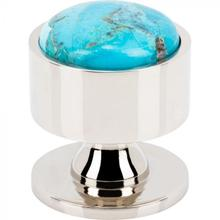 View Product - FireSky Mohave Turquoise Knob 1 3/8 Inch Polished Nickel Base Polished Nickel