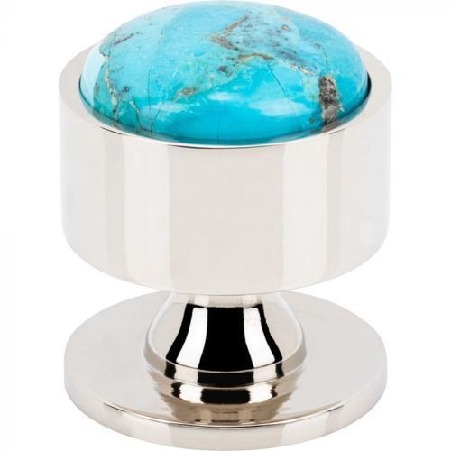 Vesta Fine Hardware - FireSky Mohave Turquoise Knob 1 3/8 Inch Polished Nickel Base Polished Nickel