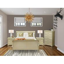West Furniture Louis Philippe 4 Piece Queen Size Bedroom Set in Metallic Gold Finish with Queen Bed,2 Nightstands Chest