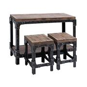 """WOOD TABLE STOOL S/3 44""""W, 32""""H Product Image"""