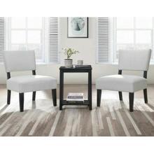 ACME Bryson 3Pc Pack Chair & Table - 59840 - Dove Gray Velvet & Black