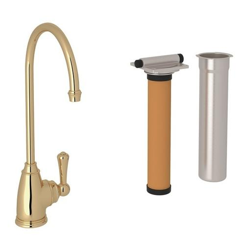 Unlacquered Brass Perrin & Rowe Georgian Era C-Spout Filter Faucet with Metal Lever