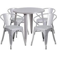 30'' Round Silver Metal Indoor-Outdoor Table Set with 4 Arm Chairs
