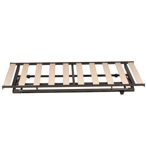 Metal Pop Up Trundle Unit With Wood Slat System