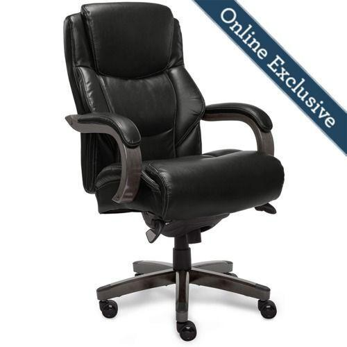 Gallery - Delano Big & Tall Executive Office Chair, Jet Black with Distressed Wood