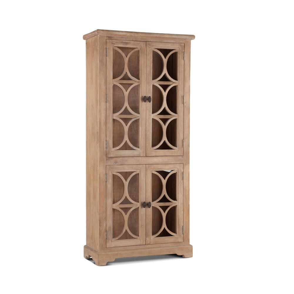 "See Details - San Rafael 38"" Wide Glass Cabinet Antique Oak"