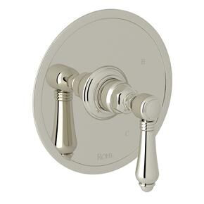 Polished Nickel Italian Bath Pressure Balance Trim Without Diverter with Metal Lever