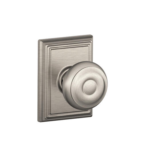 Georgian Knob with Addison trim Hall & Closet Lock - Satin Nickel