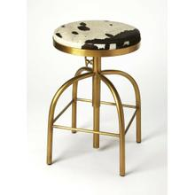 See Details - Perfect pulled up to your open-concept kitchen island, or paired with a rustic home bar, this stylish swivel bar stool lends a touch of rustic appeal to any ensemble. Crafted of Iron in a gold finish, the four-legged frame features a hand adjustment and a built-in, sqaure footrest. Sporting a warm brownish black and white finish, the backless Hair on Hide leather seat features a mechanism to keep you in the flow of conversation, while a threaded column shaft adjusts the seat height for a customized fit.