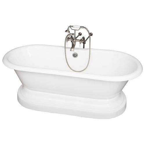 """Duet 67"""" Cast Iron Double Roll Top Tub Kit - Brushed Nickel Accessories"""