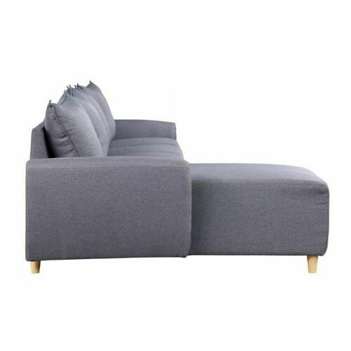ACME Marcin Sectional Sofa - 51830 - Contemporary - Fabric, Plastic Leg, Frame: Wood (Hardwood+Ply), Foam (D), Metal Henglin Hook - Gray Fabric