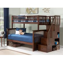 View Product - Columbia Staircase Bunk Bed Twin over Full in Walnut